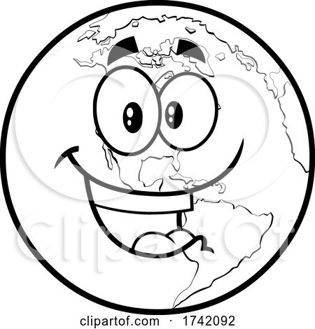 Black and White Happy Earth Globe Mascot Character Posters, Art Prints