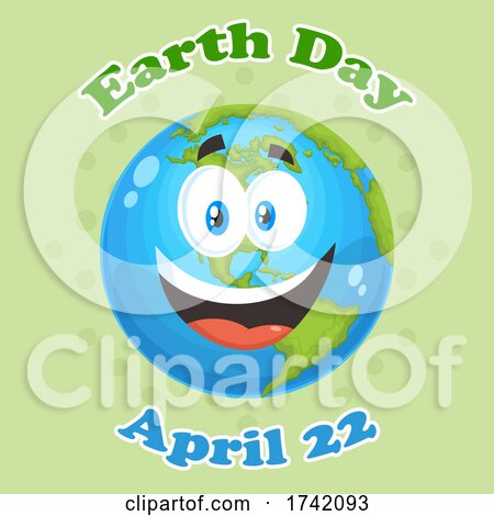 Happy Globe Mascot Character with Earth Day April 22 Text on Green Posters, Art Prints