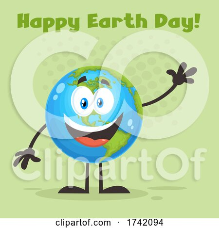 Waving Globe Mascot Character with Happy Earth Day Text on Green Posters, Art Prints