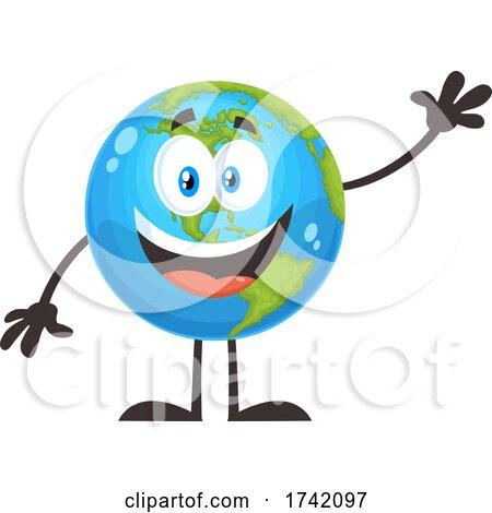 Waving Earth Globe Mascot Character Posters, Art Prints