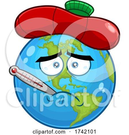 Sick Earth Globe Mascot Character Posters, Art Prints