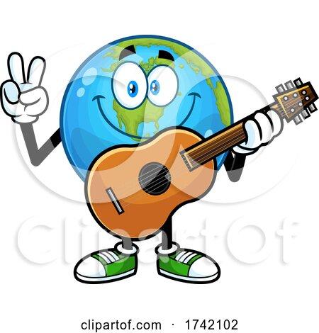 Earth Globe Mascot Characte Holding a Guitar Posters, Art Prints