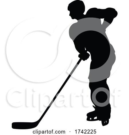 Hockey Player Silhouette by AtStockIllustration