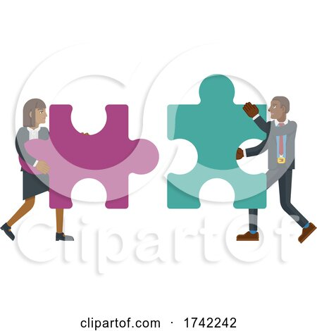 Puzzle Piece Jigsaw Characters Business Concept by AtStockIllustration