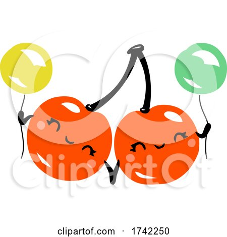 Cute Cherries Holding Balloons by elena
