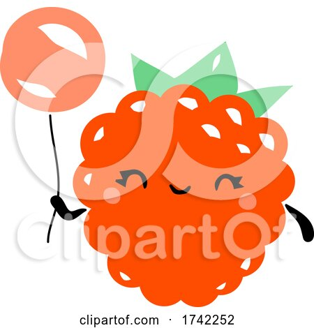 Cute Raspberry Holding a Balloon by elena