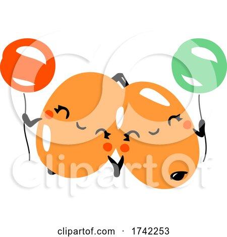 Cute Sea Buckthorns Holding Balloons by elena