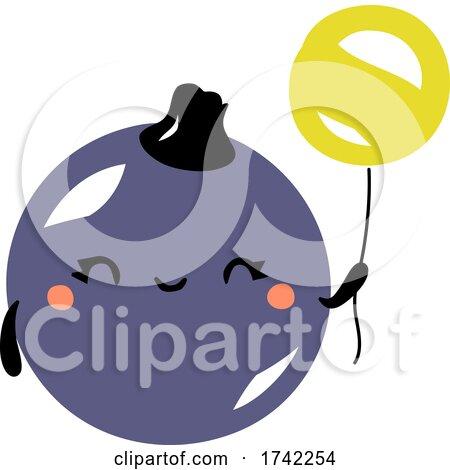 Cute Black Currant Holding a Balloon by elena