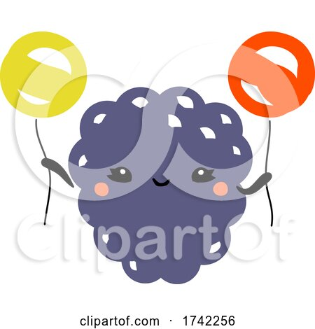 Cute Blackberry Holding Balloons by elena
