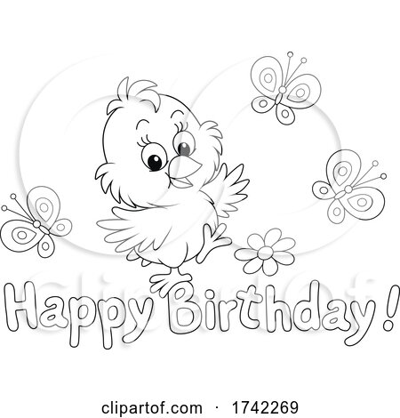 Chick with Happy Birthday Text by Alex Bannykh