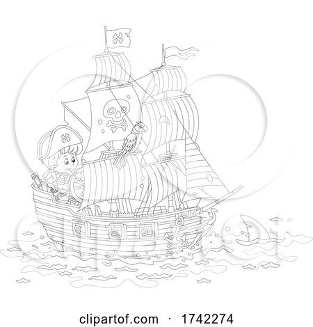 Boy and Parrot on a Pirate Ship Behind a Shark by Alex Bannykh