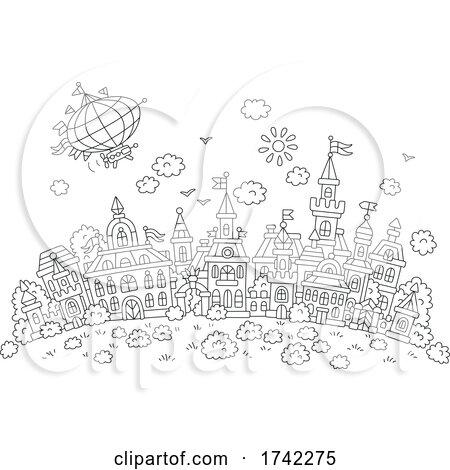 Hot Air Balloon over a Town by Alex Bannykh