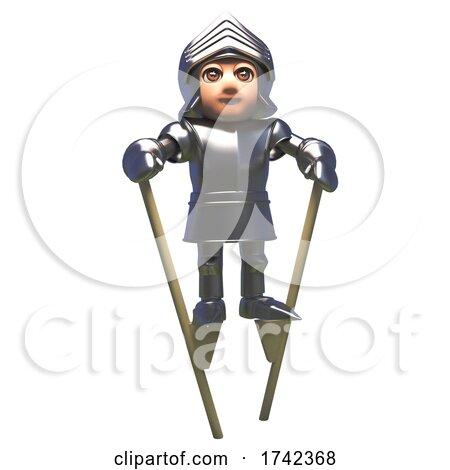 3d Medieval Knight in Shining Armour Walking on Stilts by Steve Young