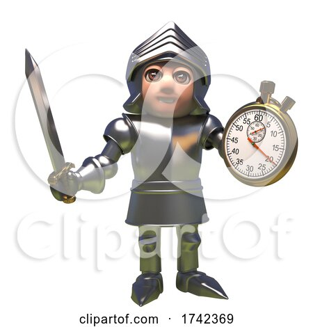 3d Medieval Knight in Shining Armour Cartoon Character Holding a Sword and Stopwatch by Steve Young