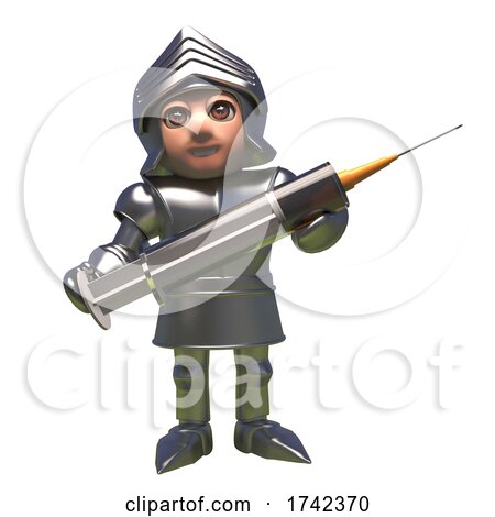 3d Medieval Knight in Shining Armour Cartoon Character Holding a Vaccine Syringe by Steve Young