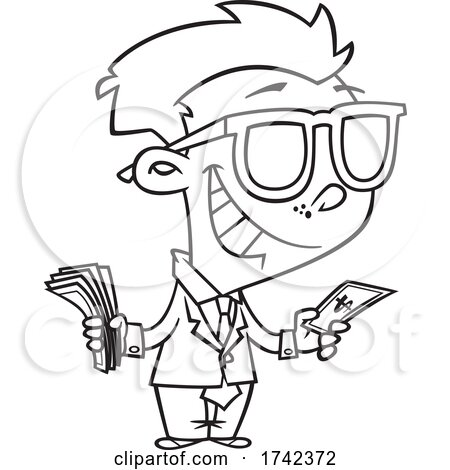 Cartoon Black and White Boy Tycoon by toonaday