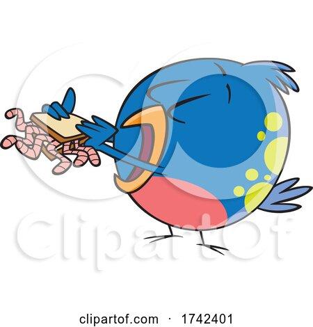 Cartoon Bird Eating a Worm Sandwich by toonaday