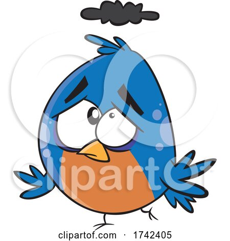 Cartoon Unhappy Bird by toonaday