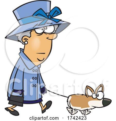 Cartoon Corgi Lady Walking Her Dog by toonaday