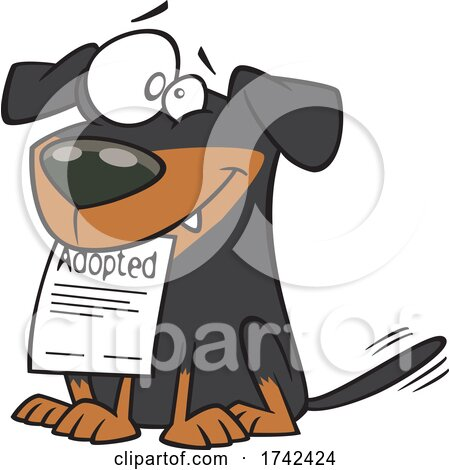 Cartoon Happy Adopted Rescue Dog by toonaday