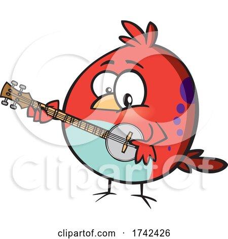 Cartoon Bird Playing a Banjo by toonaday