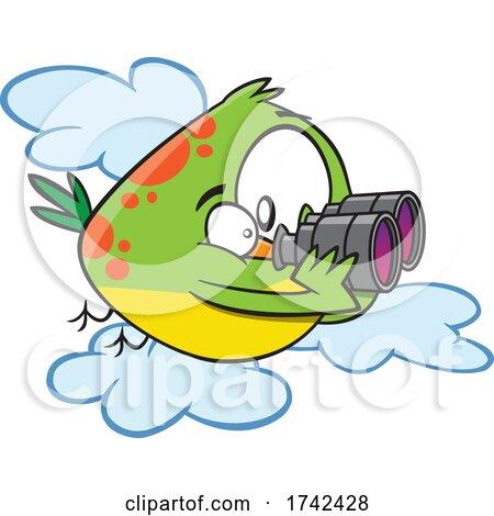Cartoon Bird Using Binoculars by toonaday