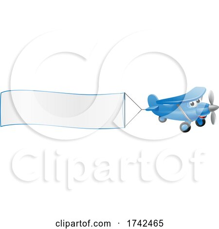 Airplane Pulling Banner Cartoon Character by AtStockIllustration