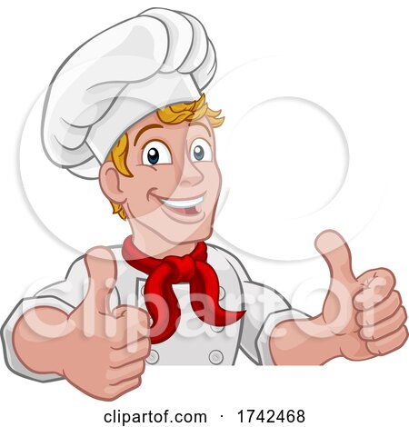 Chef Cook Baker Thumbs up Cartoon Character by AtStockIllustration