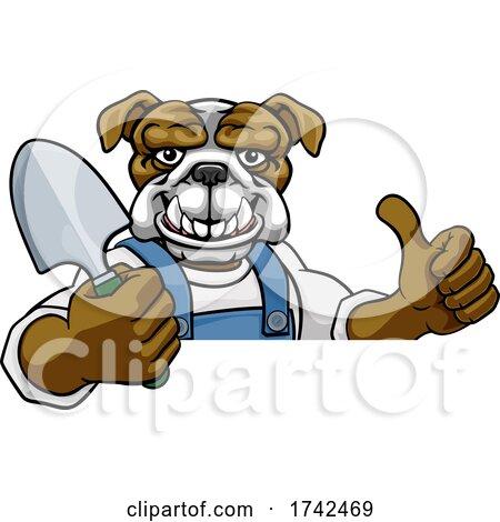 Bulldog Gardener Gardening Animal Mascot by AtStockIllustration