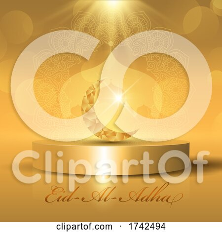Eid Al Adha Background with Golden Crescent and Moque Silhouette on Display Podium by KJ Pargeter