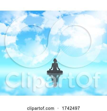 3D Female in Yoga Position Against Blue Cloudy Sky by KJ Pargeter