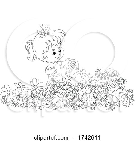 Girl Watering Flowers by Alex Bannykh