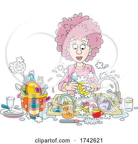 Woman Washing Dishes by Alex Bannykh