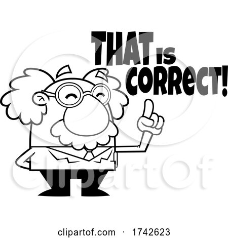 Science Professor Albert Einstein Character Saying That Is Correct by Hit Toon