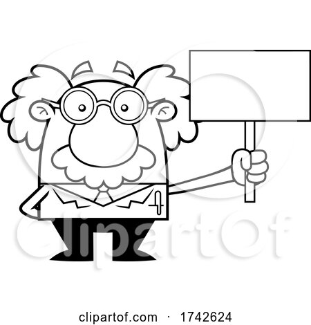Science Professor Albert Einstein Character Holding a Sign by Hit Toon