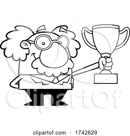 Science Professor Albert Einstein Character Holding a Trophy by Hit Toon