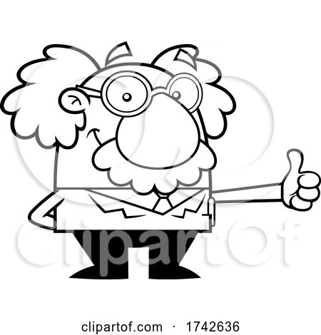 Science Professor Albert Einstein Character Giving a Thumb up by Hit Toon
