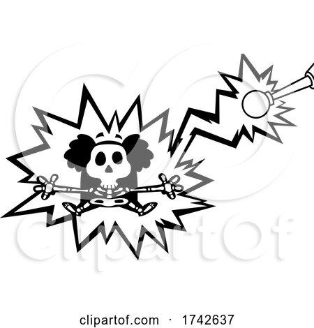 Science Professor Albert Einstein Character Being Electrocuted by Hit Toon