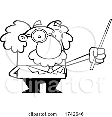 Science Professor Albert Einstein Character Holding a Pointer by Hit Toon