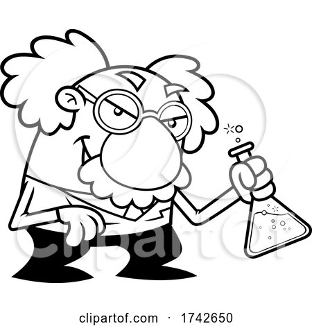 Science Professor Albert Einstein Character Experimenting by Hit Toon