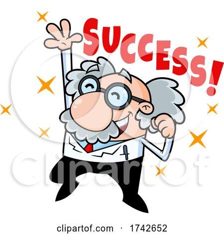 Science Professor Albert Einstein Character Cheering by Hit Toon