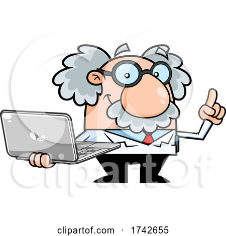 Science Professor Albert Einstein Character Holding a Laptop by Hit Toon