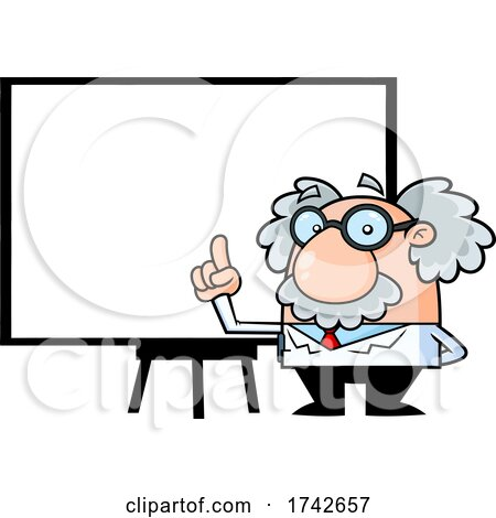 Science Professor Albert Einstein Character Holding up a Finger by a Whiteboard by Hit Toon