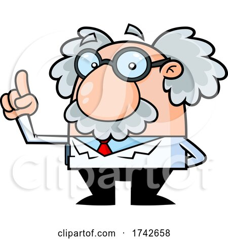 Science Professor Albert Einstein Character Holding up a Finger by Hit Toon