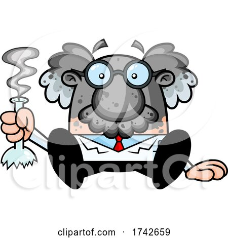 Science Professor Albert Einstein Character with an Experiment Gone Wrong by Hit Toon