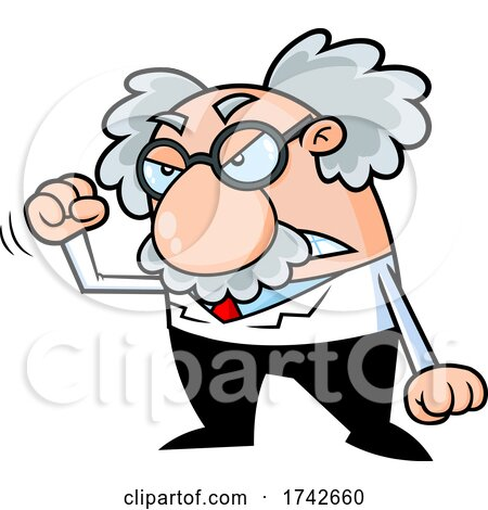 Science Professor Albert Einstein Character Holding up a Fist by Hit Toon
