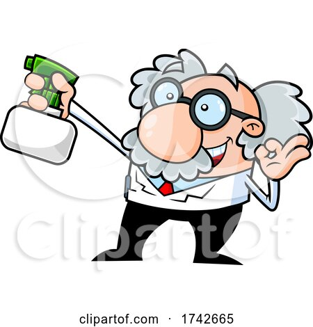 Science Professor Albert Einstein Character Holding a Spray Bottle by Hit Toon