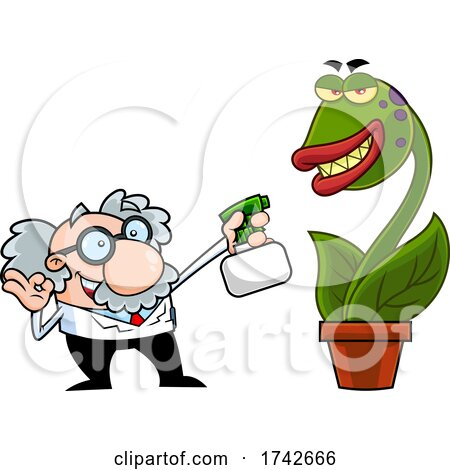 Science Professor Albert Einstein Character Watering a Carnivorous Plant by Hit Toon