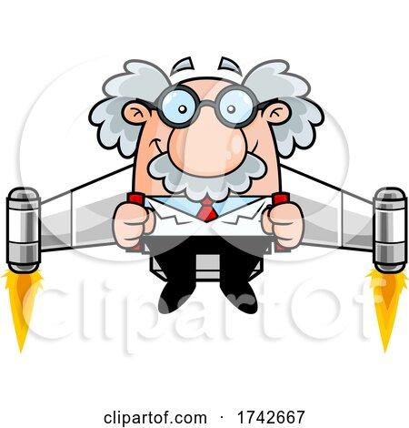 Science Professor Albert Einstein Character Using a Jetpack by Hit Toon