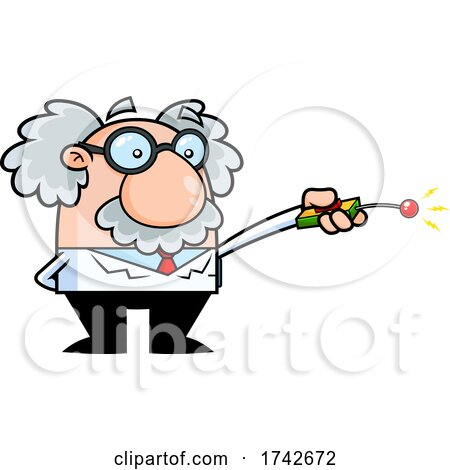 Science Professor Albert Einstein Character Using a Remote by Hit Toon